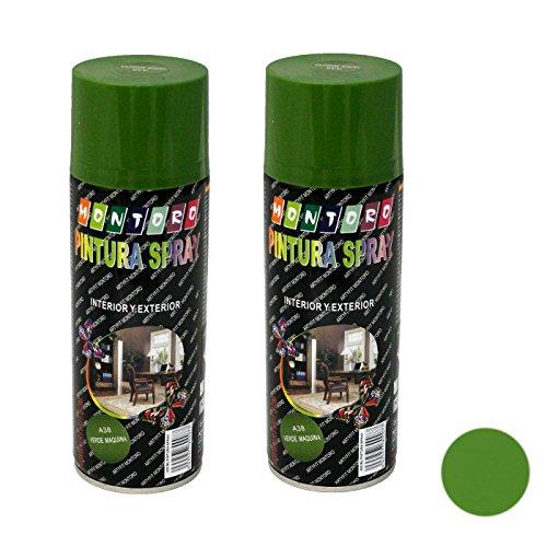 Montoro - Pack de 2 botes de pintura en spray Verde Máquina A38 400 ml