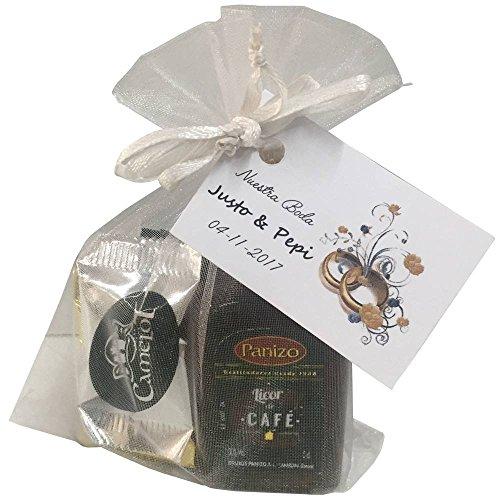 Lote con miniatura de licor de café Panizo con surtido de napolitanas de chocolate en bolsa de organza (Pack 24 ud)