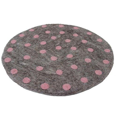 Maharanis FAIRTRADE Handgefilzter Untersetzer Unterlage Stuhlkissen Sitzkissen 35 cm graumeliert gepunktet in rosé