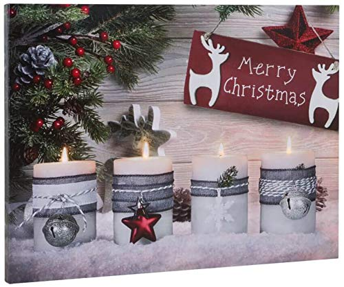 matches21 Bild Wandbild mit 4 flackernden LEDs Keilrahmen Weihnachtsmotiv mit Kerzen & Merry Christmas Bedruckt 40x30 cm