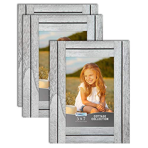 Icona Bay 7 x 5 Marcos de Fotos (Farmhouse White, Paquete de 3), Juego de Marcos de Fotos rústicos, Marcos de Madera Natural, colección Cottage