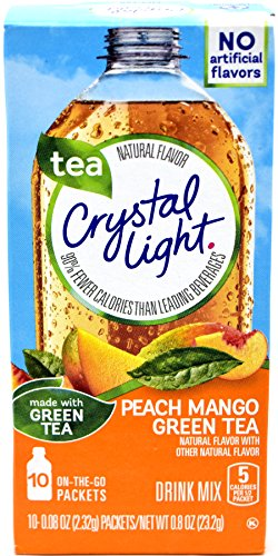 Crystal Light On The Go Peach Mango Green Tea Drink Mix, 10-Packet Box (Pack of 10)