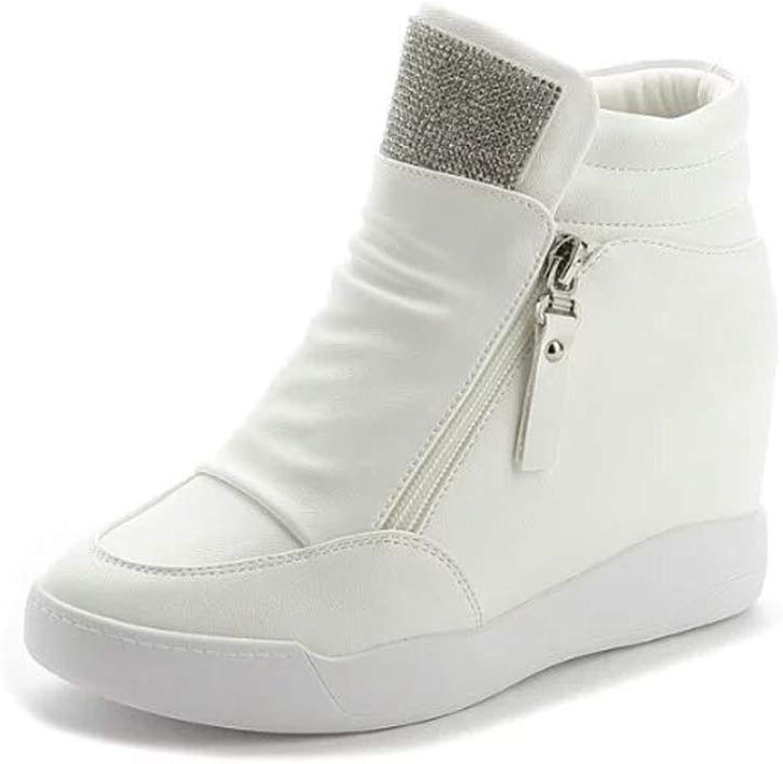 Women Hidden Wedge Sneaker PU Leather High Heels Lady Casual shoes Platform