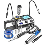 WEP 927-I-ST Adjustable Temp 60 Watt Soldering Iron Station with Soldering Iron, 5 Extra Tips, Side Solder Roll Holder & Spring Soldering Iron Holder, Brass Tip Cleaner w/Cleaning Flux & Wet Sponge