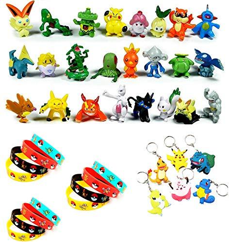 Hyde Pokémon Pearl Minifiguren Set 42 Stück, 24 Stück Pokemon Mini Action Figuren, 12 Stück Pokémon Silikon Armband und 6 Stück 3D Pokémon Schlüsselanhänger Parteien für Kinder und Erwachsene