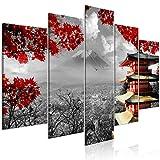 murando Impression sur Verre Acrylique Japan 100x50 cm 5 Pieces Imprimée Tableau Photo Image Pret a Accrocher Murale Moderne Décoration Paysage Noir Blanc Rouge c-C-0241-k-m