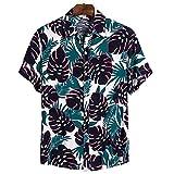 ORANDESIGNE Camicia Hawaiana Uomo Cotone Estate Spiaggia Sabbiosa Tshirt Funky Camicia Casual Hawaiana Maglietta Button Short Sleeve Shirt Surf Camicia Vintage Maniche Corte A 05 L