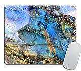 Labradorite Mouse Pad, Rainbow Moonstone Mousepad, Iridescent Holographic Stone Mouse Pad, Blue Flash Stone