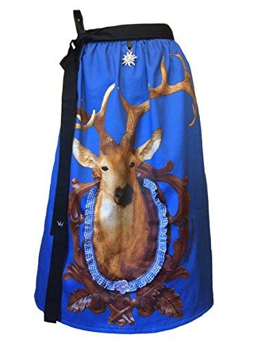 Schürzenliesl, Designer Dirndl Schürze Hirsch im Rahmen blau, Strass, Karorüschenborte, Paillettenblume (60cm)
