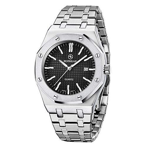 BERSIGAR Herren Stylish Sophisticated Quarzuhr Herren Analog Quartz Wrist Watch Edelstahlarmband, wasserdicht 30M