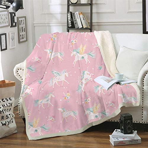BHFDCR Lamb wool Blanket Pink horse Printed Cashmere Throw Blanket for Kids Adults Soft Warm Microfiber Sherpa Fleece 3D Nap Blanket for Bed, Couch and Travel gift (50x60 inch)