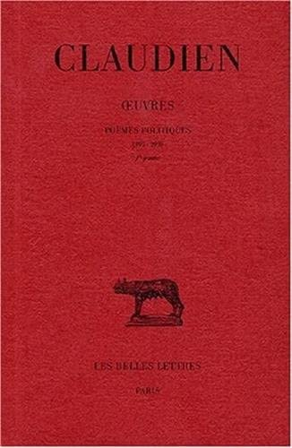 Books By Claudien_oeuvres Tome Ii 1 Et Ii 2 Poemes Politiques 395 ...