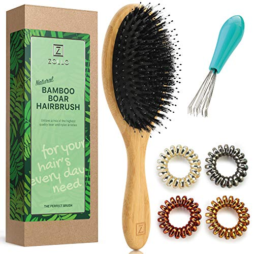 Natural Boar Bristle Hair Brush for Women, Men, Kids; Dry and Wet Detangling Hair Brush Gently Enhances Shine, Smooths Frizz and Prevents Breakage in Fine and Straight, Thick and Curly Hair