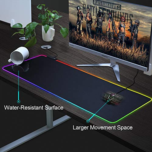 """BZseed RGB Gaming Mouse Pad X Large, Black Extended LED Mouse Pad 30% Larger Size(31.5""""×11.8""""), Anti-Slip Base Computer Keyboard Mouse Mat for Gaming Computer/Laptops/Office Desk Photo #6"""