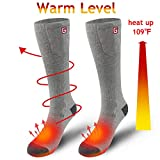 Rabbitroom Heated Socks Electric Battery Powered Thermal Insulated Socks for Men&Women (Grey)