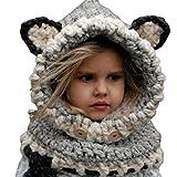 Invierno Precioso bebé a Prueba de frío Tridimensional Zorro Bufanda Sombrero niños Traje Gris