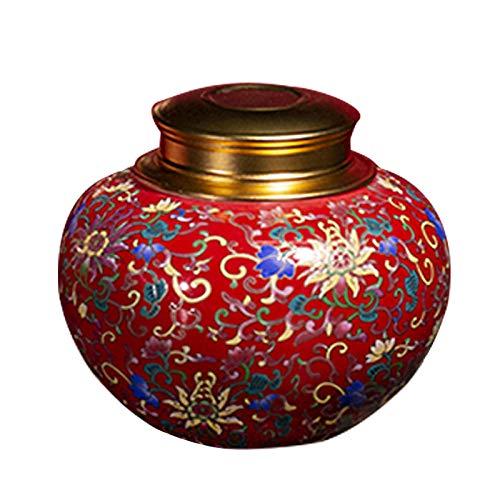 liangh Urna Funeraria,Urnas De Cremación para Adulto,Cenizas Humanas O Mascotas,urna Enterrada En Casa O En Oficina,13×13×11cm,Red