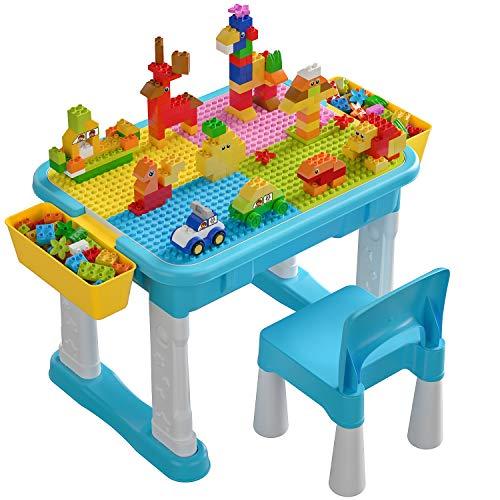 burgkidz Juego de Mesa y Silla de Actividades Múltiples Infantiles, 135 Piezas de Grandes Bloques de Construcción Mesa para Niños de 3 Años en Adelante, Azul