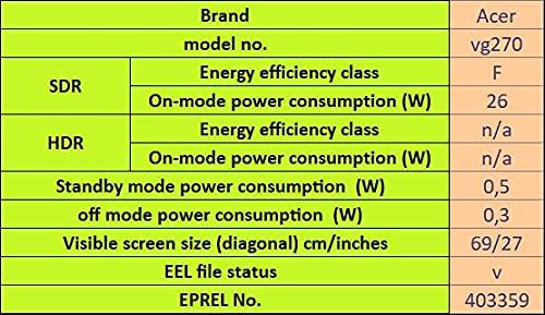 Acer VG270UP Gaming Monitor 27 Zoll (69 cm Bildschirm) WQHD, 144Hz DP/HDMI2, 70Hz HDMI1, 1ms (VRB), HDMI 2.0, HDMI 1.4, DP 1.2a, HDMI/DP FreeSync - 14