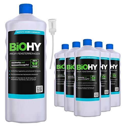 BiOHY Limpiacristales profesional (6 botellas de 1 litro) + Dosificador | Limpiador concentrado de vidrios, para de ventanas | Limpieza optima de vidrios, ventanas y espejos (Profi Fensterreiniger)