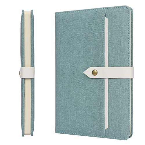 Skycase A5 Notebook,Hardcover Executive Notebooks,100 Sheets/200 Pages Journal Book with Pocket and Buckle Closure for Meeting , Work, Study and Travel,Green
