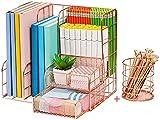 Marbrasse Rose Gold Desk Organizer | Set of 2 Desktop Organizer, Rose Gold Desk Accessories for Women, Large Capacity Metal Supplies Organizer with Pencil Holder for Home & Office Desktop Organization & Decor