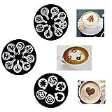 22 Piezas Decoracion de Cafe Plantillas Espuma Latte Art Barista Plantilla...