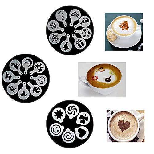 22 Piezas Decoracion de Cafe Plantillas Espuma Latte Art Barista Plantilla Plantillas de Decoración de Pasteles, Reutilizables, para Decorar Pastel de Cupcake de Avena Capuchino Chocolate Caliente