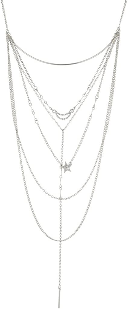 LUX ACCESSORIES Crescent Moon Pave Star Bar Multi Chain Sexy Y Necklace