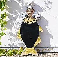 彫刻シェフとMurlocの像のメッセージボードハンギングレジンとワインボトルの壁アートクラフトデコレーションベーカリーとレストランのデコレーション