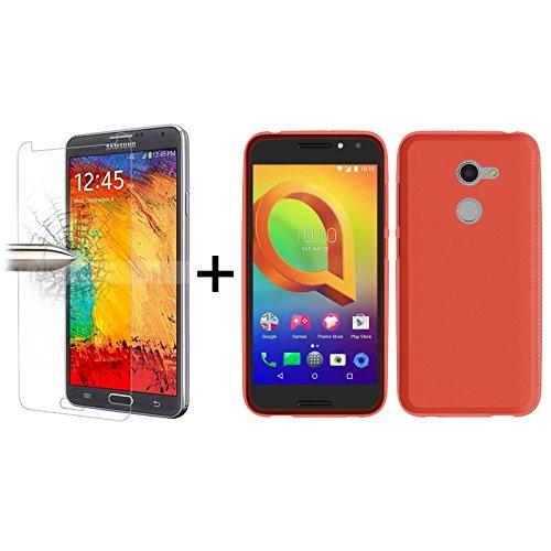 TBOC® Pack: Rot Gel TPU Hülle + Hartglas Schutzfolie für Vodafone Smart N8 (5.0 Zoll) - Ultradünn Flexibel Silikonhülle. Panzerglas Bildschirmschutz in Kristallklar in Premium Qualität.