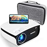 WiFi Projector Native 720P HD(Support 1920 x 1080P), Bluetooth Mini Projector Zoom 50%, WiMiUS New S25 Home & Outdoor Movie Projector 200' Screen, Compatible w/ Fire TV Stick, PS4, Laptop, iPhone, DVD