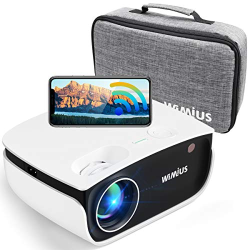 "WiFi Projector 5500Lux HD, Bluetooth Mini Projector Zoom 50%, WiMiUS New S25 Home & Outdoor Movie Projector Support 1920 x 1080P 200"" Screen, Compatible w/ Fire TV Stick, PS4, Laptop, iPhone, DVD"