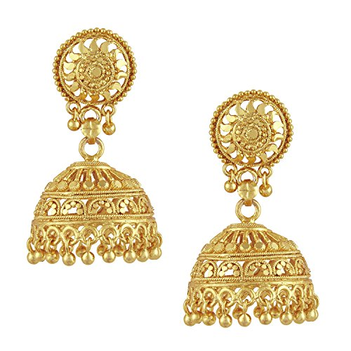 Bodha 18k Gold Plated Medium Size Traditional Indian Jhumka Earrings (SJ_34)