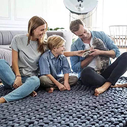 Blanket Couverture épaisse De Luxe à La Main Chunky Couverture Tricotée Couvertures Encombrantes Hiver Soft Warm Throw,Grey-130 * 170cm
