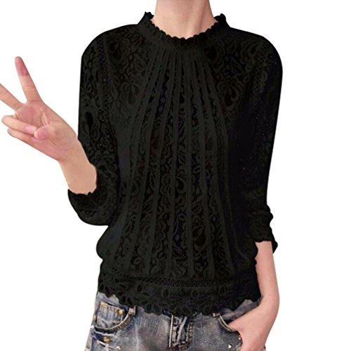 DEELIN Camisa Casual De Manga Larga De Cuello Redondo De Camisa De Encaje De Manga Larga para Mujer
