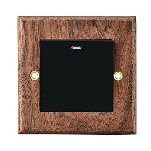 Ploutne Interruptor retro Personalidad Interruptor de pared de madera maciza Negro Nuez del rockero Lámpara hecha a mano Lámpara a mano Interruptor de control individual o doble con indicación fluores