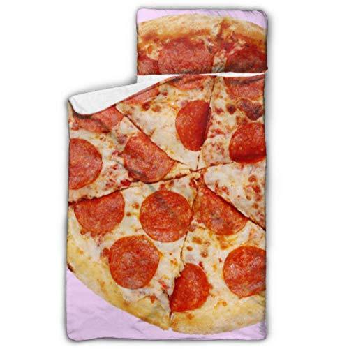 Doreen DaltonKids Schlafsack, Pizza Pepperoni auf Pink, 6-teiliges Nickerchen mit Kissen für Kleinkinder, Jungen und Mädchen, Klassische Schlafsack, perfekte Größe für Tagespflege und P