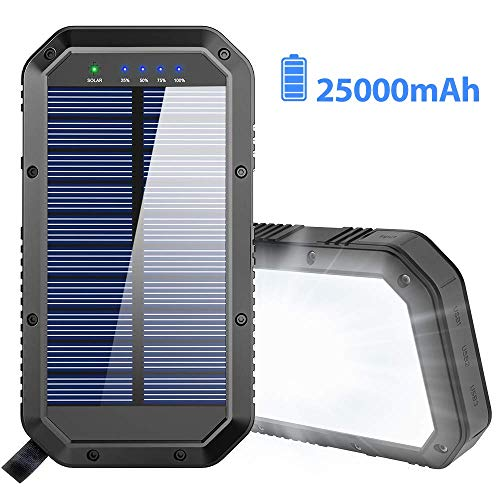 Solar Charger, 25000mAh Battery Solar Power Bank...