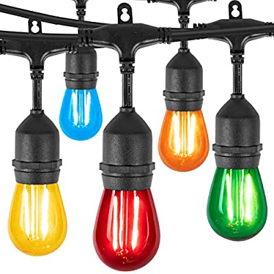 48Ft LED Outdoor String Lights with 15 Multicolored Shatterproof Energy Saving Bulbs, UL Listed Commercial Grade Connectable Weatherproof Strand for Patio Deck Backyard Garden Wedding, Black Cord