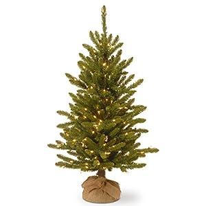 National Tree Company Pre-lit Artificial Mini Christmas Tree | Includes Small Lights and Cloth Bag Base | Kensington Burlap – 4 ft