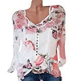 Women Blouse Daoroka Chiffon Plus Size Long Sleeve Floral Irregular Hem Casual Shirts Top
