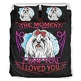 wbinshey Colcha edredón The Moment I Saw You I Love You Dog Yorkie Comfort Categorías patrón europeo color negro decorativo juego de almohada blanco 104 x 90 pulgadas