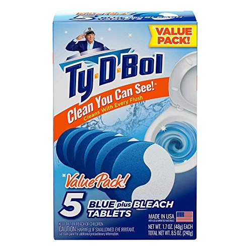 Ty-D-Bol Blue Plus Bleach Tablets Value 5 Pack, Cleans and Deodorizer Toilets for a Fresh Smelling Bathroom (Pack of 10)