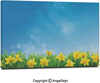 Canvas Prints Modern Art Framed Wall Mural Spring Narcissus Flowers in Grass Field Sunny Sky Decorative Floral Home Decor Wall Decorations for Living Room Bedroom Dining Room Bathroom Office,Yellow
