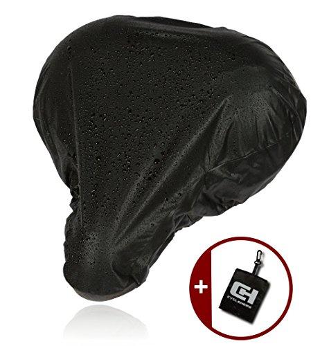 CYCLEHERO Sattelbezug wasserdicht schmaler schwarzer Sattelschutz für das Fahrrad - wasserfester Regenschutz mit Gummizug und Transporttasche für Rennrad, Mountainbike und Trekkingrad (breit)