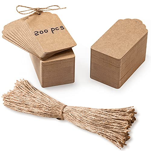 """200 Pcs Premium Gift Tags with 200 Root Natural Jute Twine, 3.5""""x1.8"""" Price Tags - Kraft Paper Tags Craft Tags Hang Labels Jewelry Tags for Wedding Christmas Thanksgiving and Holiday"""