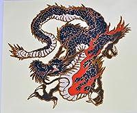 龍(りゅう) 日本画 オリジナルステッカー UVラミネート加工 耐水仕様 輪郭カット (A6)