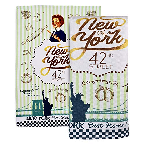 "Robin Ruth New York City Kitchen Towel - Souvenir Dish Towel in Many NYC Inspired Designs - Cotton Blend Absorbent Tea Towel - Dish Drying Soft Kitchen Towel - New York City Décor Gifts [27 x 18""]"