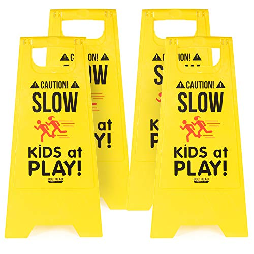 4-Pack of Caution! Slow Kids at Play! Child Safety & Slow Down Signs – Double-Sided, Fold-Out Road & Yard Signs for Neighborhoods, Schools, Day Cares, Park & Home Use for Street, Sidewalk, Driveway